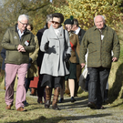 The Princess Royal with Patrick Cregg (left), director of the Woodland Trust, and Dr Sam Burnside at Brackfield Wood's new poetry trail