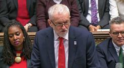 Labour leader Jeremy Corbyn during PMQs (PA)