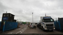 Vehicles depart Larne in Northern Ireland (Brian Lawless/PA)