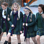 Louisa Harland, Saoirse-Monica Jackson, Nicola Coughlan, Jamie-Lee O'Donnell and Dylan Llewellyn filming Derry Girls yesterday