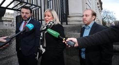 SDLP Leader Colm Eastwood, Sinn Fein deputy leader Michelle O'Neill and Northern Ireland Green Party Leader Steven Agnew, arrive for a Brexit briefing with Taoiseach Leo Varadkar in Dublin (Niall Carson/PA)