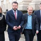 Representatives from Northern Ireland parties leaving Government Buildings in Dublin, following a Brexit briefing with Leo Varadkar (PA)