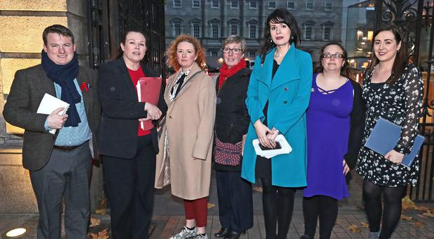 Grainne Teggart (third right) Northern Ireland campaigner for Amnesty International with Sinn Feins Louise O'Reilly, Megan Fearon and members of the Alliance for Choice (Niall Carson/PA)
