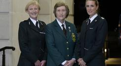 Assistant Chief Constable Barbara Gray with retired RUC officer Mae McMullan and Chief Superintendent Emma Bond at the 75 years of Women in Policing celebration at Stormont Buildings