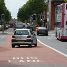A city centre bus lane
