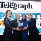 INM publishing director NI Sarah Little, Property Personality of the Year Bill Wolsey, Belfast Telegraph Editor Gail Walker and businesswoman Petra Wolsey