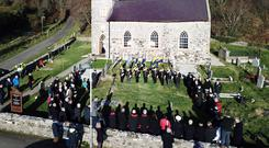 The service at St Thomas Church Rathlin Island to mark the end of the Great War (Gareth O Brien/McAuley Multimedia/PA)