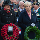 DUP leader Arlene Foster and Fine Gael TD Heather Humphreys pay their respects at the Enniskillen Cenotaph