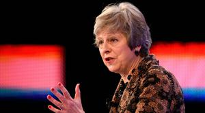 Prime Minister Theresa May speaking during the 2018 CBI Conference yesterday