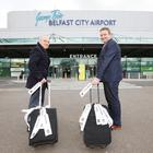 Jonathan McAlpin (left), chair of Eastside Awards Committee, and Stephen Patton of George Best Belfast City Airport taking off to announce this year's Eastside Awards finalists