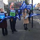 Members of the NASUWT outside St Patrick's Primary School in Belfast