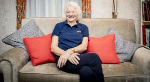 Mary Peters relaxes at home