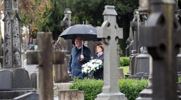 A wreath is laid at Dublin's Glasnevin Cemetery (Niall Carson/PA)