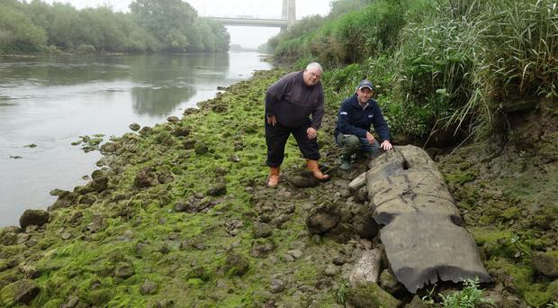 A logboat that was recovered in the Boyne river (Department of Culture, Heritage and the Gaeltacht/PA)