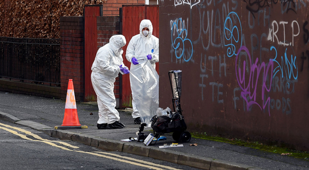 Police officers cordoned off Little May Street in Belfast city centre following a report of a sexual assault on Sunday November 25.