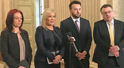 (Left to right) Green Party leader Clare Bailey, Sinn Fein vice-president Michelle O'Neill, SDLP leader Colum Eastwood and Alliance deputy leader Stephen Farry (Rebecca Black/PA)