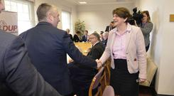 DUP leader Arlene Foster meets with members of the business community yesterday