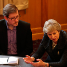 PM Theresa May meets with young farmers and students at Queen's University in Belfast yesterday