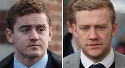 Paddy Jackson (left) and Stuart Olding were both acquitted (Niall Carson/PA)