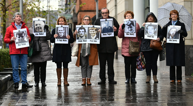 Families of the 10 people shot dead over the internment weekend in August 1971 attending their inquests at Belfast Coroner's Court yesterday