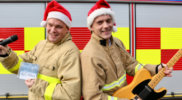 Firefighters Barrie Davies and Patsy Begley who feature in the new single