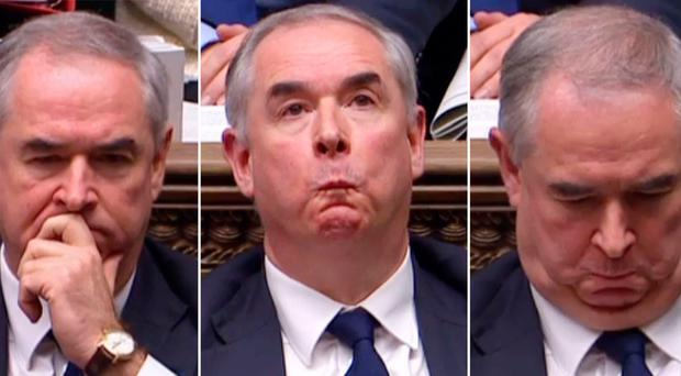 Attorney General Geoffrey Cox reacts to the vote that forced the Government to publish his legal advice