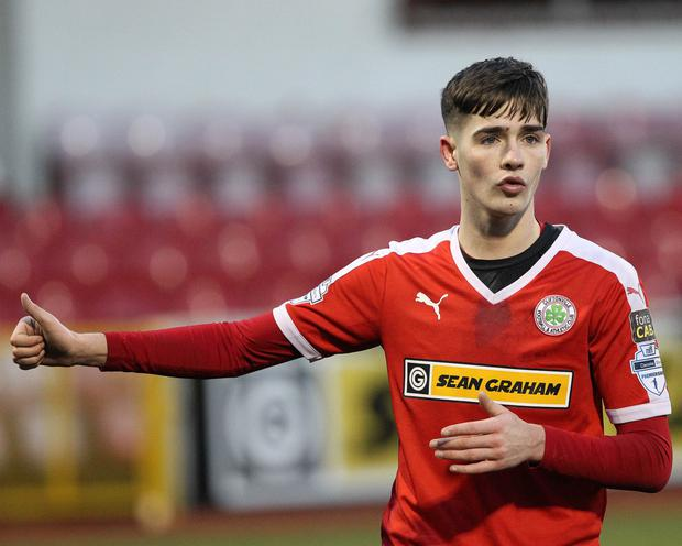 Jay Donnelly in action for Cliftonville.