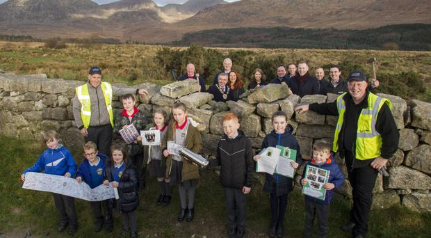 Local schoolchildren joined project team members to mark the first phase of restoration