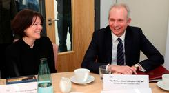 Cabinet Office minister David Lidington with Patricia O'Hagan, CEO of Core Systems, during a visit to Core Systems in Belfast yesterday