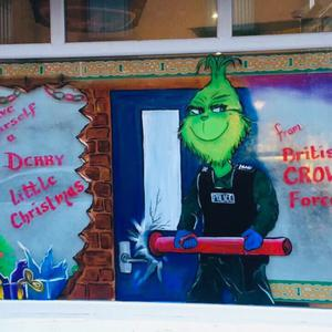 The controversial Christmas painting in the window of the offices in Londonderry of dissident republican group Saoradh
