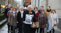 John McKerr's daughters with supporters outside the inquest