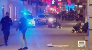 The scene of the shooting near a Christmas market in Strasbourg last night