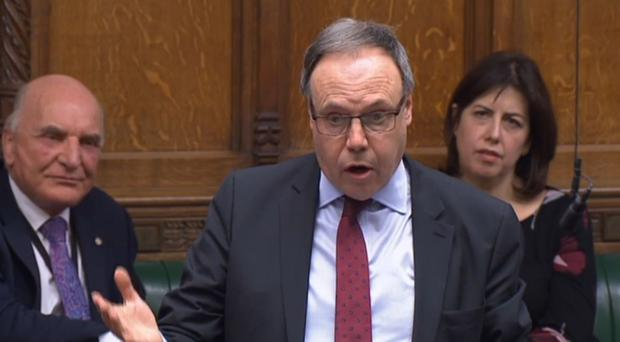 DUP's Nigel Dodds responds in the Commons (PA)