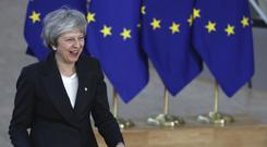 Theresa May arrives for the EU summit in Brussels (Francisco Seco/AP)
