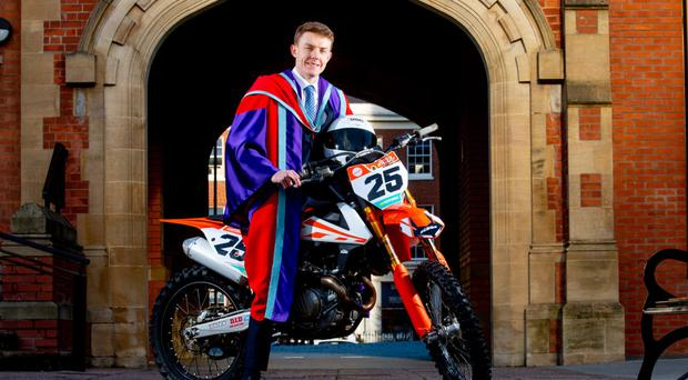 Charles Stuart, from Ballycastle, who is a multiple Irish motorcycle champion, is graduating from Queen's University with a PhD in mechanical engineering