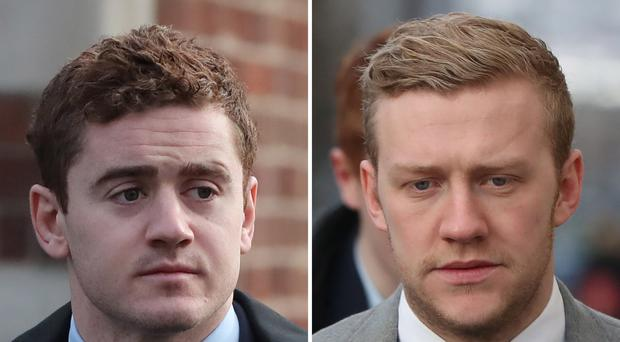 Former Ireland and Ulster rugby players Paddy Jackson (left) and Stuart Olding (Niall Carson/PA)