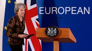 Theresa May holds a press conference at the European Council yesterday