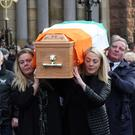 The funeral of Joseph 'the Hawk' Haughey, a man once charged in connection with the IRA attack which killed Mary Travers and seriously injured her father, magistrate Tom Travers