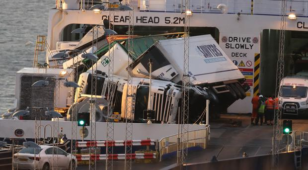 Toppled lorries on board a PandO Ferry which was travelling from Larne to Cairnryan (Andrew Milligan/PA)