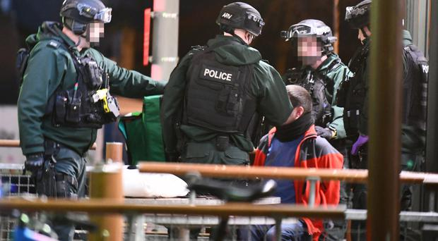 PSNI armed response unit arrests suspect outside McDonald's at Connswater