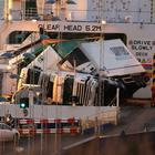 Toppled lorries on the European Causeway, a P&O ferry travelling from Larne to Cairnryan