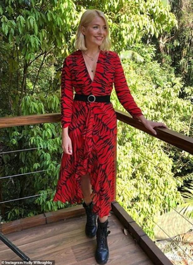Celebrity fan Holly Willoughby wearing Rixo in the jungle