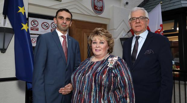 Director General of International Relations Andrew McCormick, the Lord Lieutenant of Belfast Fionnuala Jay-O'Boyle and Polish Minister for Foreign Affairs Jacek Czaputowicz at the opening of the new Polish Consulate in Belfast (Darren Kidd/PA)
