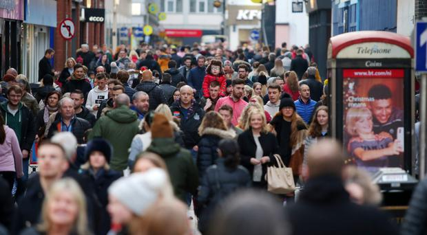 Shoppers on the busy streets of Belfast