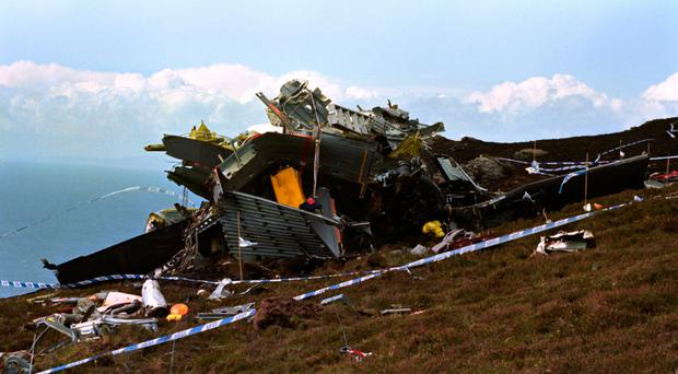 The wreckage of the Chinook helicopter that crashed on the Mull of Kintyre killing all 29 on board in 1994