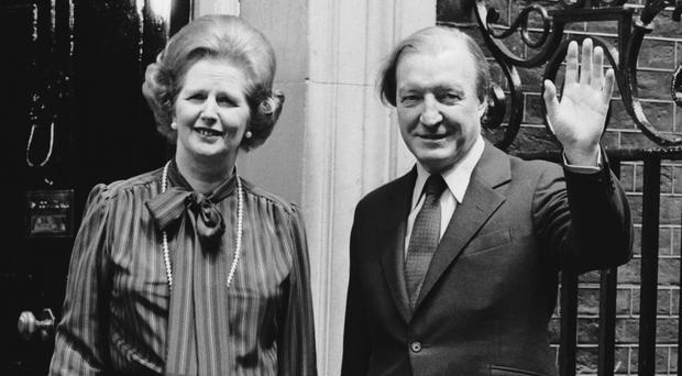 Margaret Thatcher and Charles Haughey outside Number 10 Downing Street
