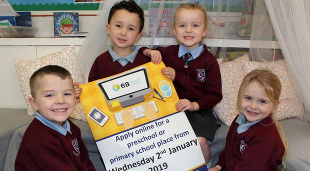 Greystone PS pupils Ollie Duckett, Theo White, Charlotte Porter and Emily Steele at the launch of the new online admissions process which officially opened yesterday