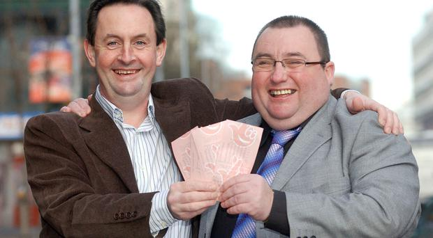 Two of Northern Ireland's National Lottery millionaires Peter Lavery (right) and Eamon Morrison