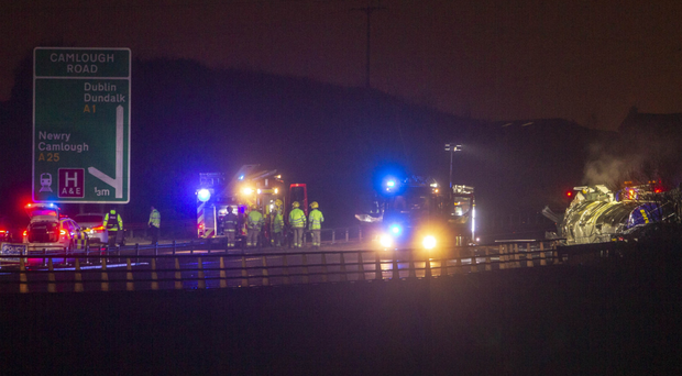 The scene of the road accident on the A1 in Newry on Wednesday.