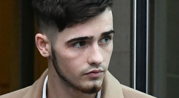 Irish League footballer Jay Donnelly leaves his sentencing at Belfast Magistrates' Court yesterday